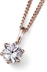 Růžově pozlacený stříbrný náhrdelník s krystalem Brilliance 61125RG 001 (řetízek, přívěsek)