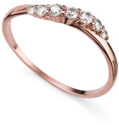 Růžově pozlacený stříbrný prsten s krystaly Petite 63227RG