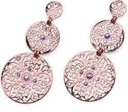 Růžově zlacené náušnice s krystaly Orient 22777RG