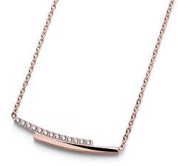 Růžově zlacený náhrdelník s krystaly Inter 11971RG