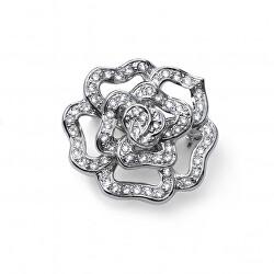 Třpytivá květinová brož s čirými krystaly Fiorellino 58048
