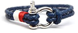 Pánský kožený náramek Bolo - modrá