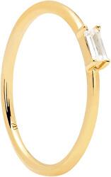 Minimalistický pozlacený prsten ze stříbra s třpytivým zirkonem AMANI Gold AN01-146