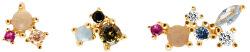 Asymetrické pozlacené náušnice ze stříbra s třpytivými zirkony LA PALETTE Gold AR01-209-U