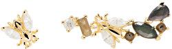 Asymetrické pozlacené náušnice ze stříbra se zirkony REVERY Gold AR01-321-U