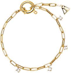 Jemný pozlacený náramek ze stříbra s třpytivými zirkony GINA Gold PU01-043-U