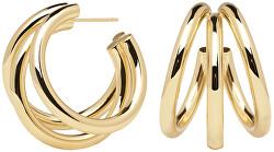 Luxusné pozlátené náušnice kruhy TRUE Gold AR01-066-U