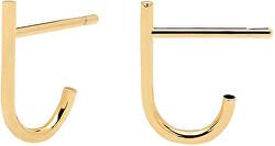 Minimalistické pozlacené náušnice ze stříbra LIGHT BIRD Gold AR01-091-U