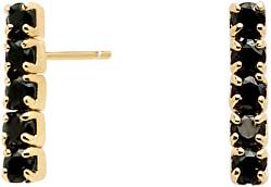 Minimalistické pozlátené náušnice zo striebra s čiernymi zirkónmi Black KIRA Gold AR01-073-U