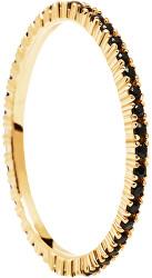 Aranyozott gyűrű fekete cirkónium kővel  fekete Essential Gold AN01-348