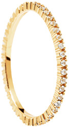 MinimalistAranyozott gyűrű csillogó cirkónium kövekkel White EssentialGold AN01-347