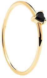Minimalistický pozlacený prsten se srdíčkem Black Heart Gold AN01-224