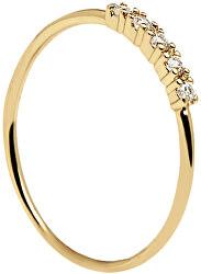 Aranyozott gyűrű csillogó cirkónium kővel MISTYGold AN01-117