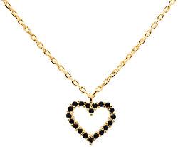 Něžný pozlacený náhrdelník se srdíčkem Black Heart Gold CO01-221-U (řetízek, přívěsek)