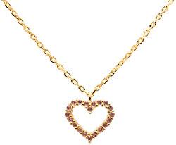 Něžný pozlacený náhrdelník se srdíčkem Lavender Heart Gold CO01-224-U (řetízek, přívěsek)