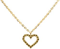 Něžný pozlacený náhrdelník se srdíčkem Olive Heart Gold CO01-223-U (řetízek, přívěsek)