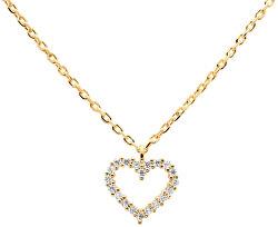 Něžný pozlacený náhrdelník se srdíčkem White Heart Gold CO01-220-U (řetízek, přívěsek)