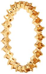 Něžný pozlacený prsten se zirkony YELLOW BIRD Gold AN01-134