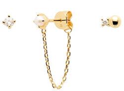 Pozlacené asymetrické náušnice s perlou a zirkony CHARLIE Gold BU01-019-U