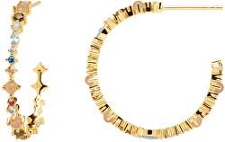 Pozlátené náušnice kruhy zo striebra s trblietavými zirkónmi HALO Gold AR01-221-U
