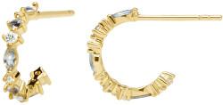 Pozlátené náušnice zo striebra s trblietavými zirkónmi OMBRA Gold AR01-219-U