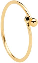 Pozlacený minimalistický prsten ze stříbra BLACK ESSENTIA Gold AN01-132