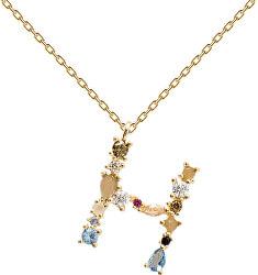 """Pozlacený náhrdelník ze stříbra písmeno """"H"""" se zirkony CO01-103-U (řetízek, přívěsek)"""