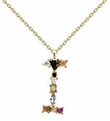 """Pozlacený náhrdelník ze stříbra písmeno """"I"""" se zirkony CO01-104-U (řetízek, přívěsek)"""