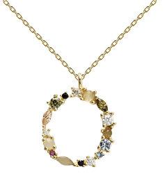 """Pozlacený náhrdelník ze stříbra písmeno """"O"""" se zirkony CO01-110-U (řetízek, přívěsek)"""