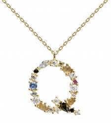 """Pozlacený náhrdelník ze stříbra písmeno """"Q"""" se zirkony CO01-112-U (řetízek, přívěsek)"""