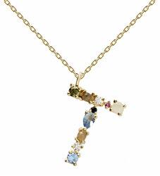 """Pozlacený náhrdelník ze stříbra písmeno """"T"""" se zirkony CO01-115-U (řetízek, přívěsek)"""