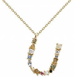 """Pozlacený náhrdelník ze stříbra písmeno """"U"""" se zirkony CO01-116-U (řetízek, přívěsek)"""