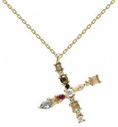 """Pozlacený náhrdelník ze stříbra písmeno """"X"""" se zirkony CO01-119-U (řetízek, přívěsek)"""
