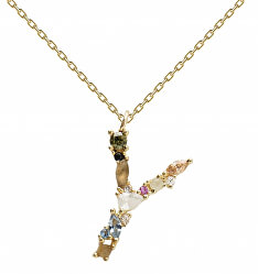"""Pozlacený náhrdelník ze stříbra písmeno """"Y"""" se zirkony CO01-120-U (řetízek, přívěsek)"""