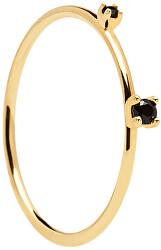 Pozlacený prsten s černými zirkony BLACK KITA Gold AN01-131
