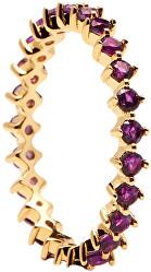 Něžný pozlacený prsten se zirkony VIOLET BIRD Gold AN01-136
