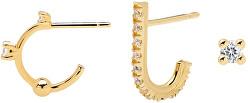 Sada pozlacených asymetrických náušnic ze stříbra L`OISEAU Gold Bundle BU01-008-U
