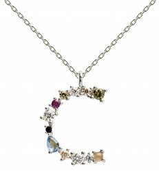 """Stříbrný náhrdelník písmeno """"C"""" se zirkony CO02-098-U (řetízek, přívěsek)"""