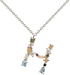 """Stříbrný náhrdelník písmeno """"H"""" se zirkony CO02-103-U (řetízek, přívěsek)"""
