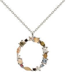 """Stříbrný náhrdelník písmeno """"O"""" se zirkony CO02-110-U (řetízek, přívěsek)"""