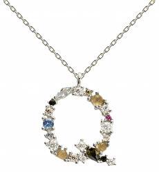 """Stříbrný náhrdelník písmeno """"Q"""" se zirkony CO02-112-U (řetízek, přívěsek)"""
