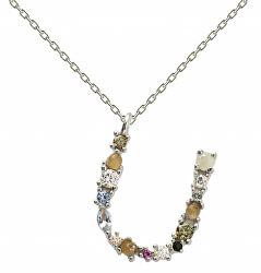 """Stříbrný náhrdelník písmeno """"U"""" se zirkony CO02-116-U (řetízek, přívěsek)"""