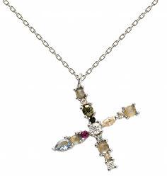 """Stříbrný náhrdelník písmeno """"X"""" se zirkony CO02-119-U (řetízek, přívěsek)"""