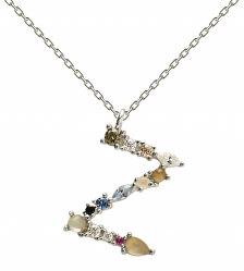 """Stříbrný náhrdelník písmeno """"Z"""" se zirkony CO02-121-U (řetízek, přívěsek)"""