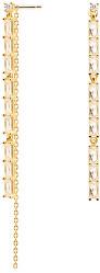 Dlhé pozlátené náušnice zo striebra s trblietavými zirkónmi IDRIS Gold AR01-123-U