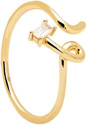 Elegantní pozlacený prsten se zirkonem NEMA Gold AN01-153