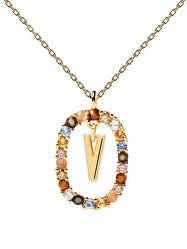 """Krásný pozlacený náhrdelník písmeno """"V"""" LETTERS CO01-281-U (řetízek, přívěsek)"""