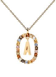 """Krásný pozlacený náhrdelník písmeno """"A"""" LETTERS CO01-260-U (řetízek, přívěsek)"""