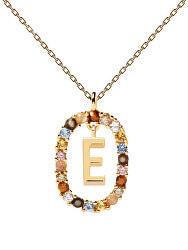 """Krásný pozlacený náhrdelník písmeno """"E"""" LETTERS CO01-264-U (řetízek, přívěsek)"""