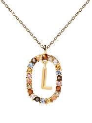 """Krásný pozlacený náhrdelník písmeno """"L"""" LETTERS CO01-271-U (řetízek, přívěsek)"""